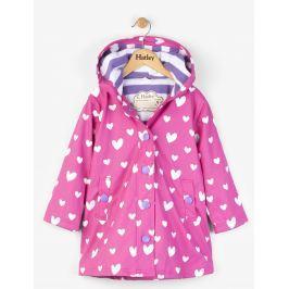 Hatley Dievčenský nepremokavý kabát meniaci farbu so srdiečkami - ružový