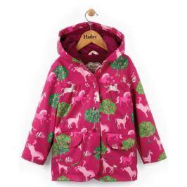 Hatley Dievčenský nepremokavý kabátik s koňmi - ružový