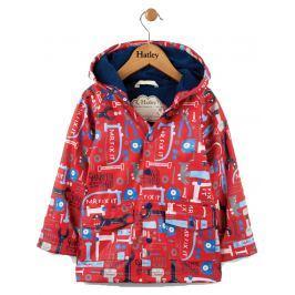 Hatley Chlapčenský nepremokavý kabátik s náradím - červený