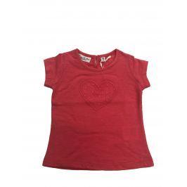 Carodel Dievčenské tričko s čipkovaným srdcom - ružové