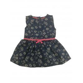 Carodel Dievčenské riflové šaty s kvietkami - modré