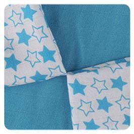 XKKO Bambusové obrúsky 30x30 Little Stars Cyan MIX (9ks)