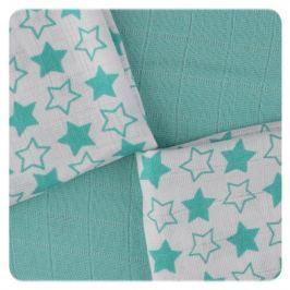 XKKO Bambusové obrúsky 30x30 Little Stars Turquoise MIX (9ks)