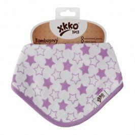 XKKO Bambusový slintáček Little Stars Lilac (1ks)