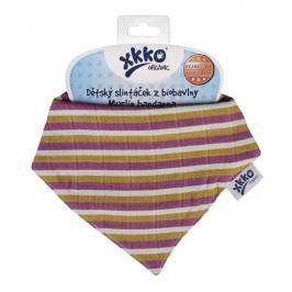 XKKO Bavlnený slintáčik Organic BIO - Violet Stripes