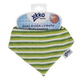 XKKO Bavlnený slintáčik Organic BIO - Green Stripes