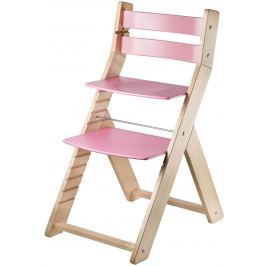 WOOD PARTNER Detská rastúca stolička SANDY natur / ružová