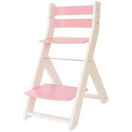 WOOD PARTNER Detská rastúca stolička MONY biela / ružová