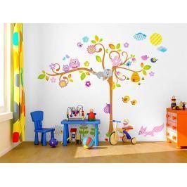 Mint Kitten Samolepka na stenu Kvetinový strom so zvieratkami, 1,5 m