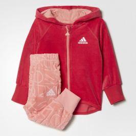 adidas Dievčenská tepláková súprava Velour Hooded Jogger - ružová
