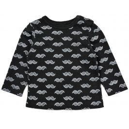 Garnamama Chlapčenské tričko s fúzami - čierne