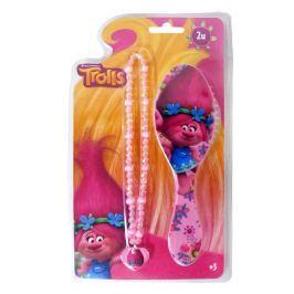 Disney Brand Dievčenská súprava náhrdelník + kefa Trollovia - ružová