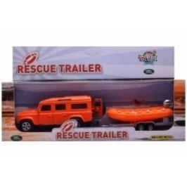 Mikro hračky Auto Land Rover Defender s člnom (oranžové auto)