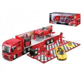 Mikro hračky Auto s prívesom Bburago s doplnkami 1:43 Ferrari Race &  Play plast