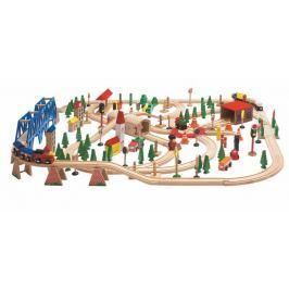 WOODY Vláčkodráha Super Train v drevenej krabici, 170 dielov