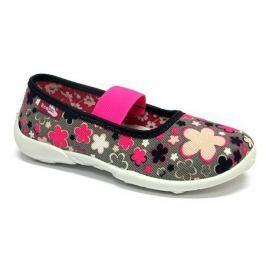 Ren But Dievčenské kvetované papučky s ružovou gumičkou - šedé