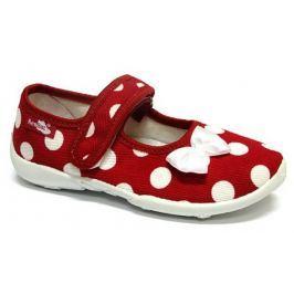 Ren But Dievčenské bodkované papučky s bielou mašľou - červené
