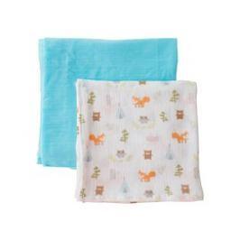 Summer Infant SwaddleMe mušelínová prikrývka, lesný motív / modrá 2ks
