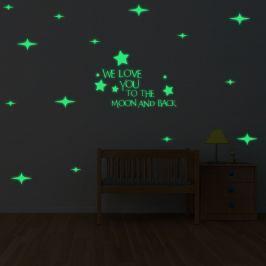 Walplus Svietiace samolepka na stenu Hviezdy & We love you ..