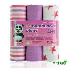 T-tomi Bambusové plienky, sada 3 ks, ružové hviezdičky