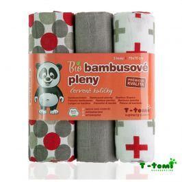 T-tomi Bambusové plienky, sada 3 ks, červené guličky