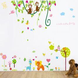 Walplus Samolepky na stenu Opičky na líniách a malý slon, 193x160 cm