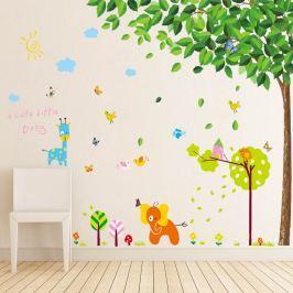 Walplus Samolepky na stenu Zelený strom a malý slon, 200x180 cm