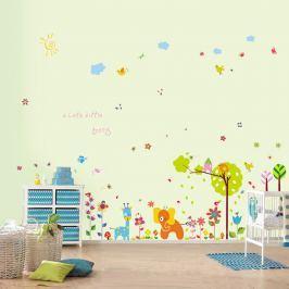 Walplus Samolepky na stenu Farebné kvetinky a malý slon, 250x150 cm