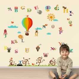 Walplus Samolepky na stenu Opice v balóne a farebná abeceda, 60x90 cm / 60x30 cm