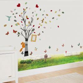 Walplus Samolepky na stenu Strom s foto rámčekom a tráva, 175x150 cm