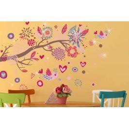 Walplus Samolepky na stenu Ružový vtáčiky s kamienkami Swarovski, 105x75 cm