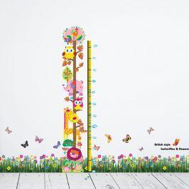 Walplus Samolepky na stenu Tráva s kvietkami a Zvířátková meter, 170x170 cm