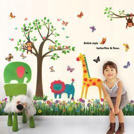 Walplus Samolepky na stenu Tráva s motýliky a strom so zvieratkami, 188x156 cm