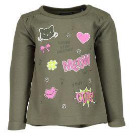 Blue Seven Dievčenské tričko Meow - tmavo zelené