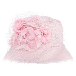 Bexa Dievčenský klobúčik Veil s kvštinou - ružový