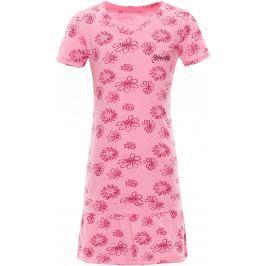 ALPINE PRO Dievčenské šaty Chenoo 2 s kvietkami - ružové