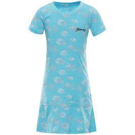 ALPINE PRO Dievčenské šaty Chenoo 2 s kvietkami - modré