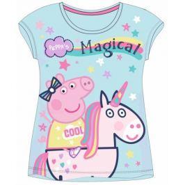 E plus M Dievčenské tričko Peppa Pig - tyrkysové