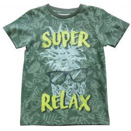 Carodel Chlapčenské tričko s listovým potlačou - zelené