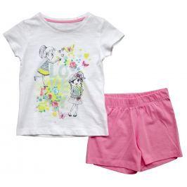 Carodel Dievčenské set tričko s potlačou a kraťásky- bielo ružový