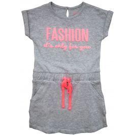 Carodel Dievčenské šaty s potlačou - šedé