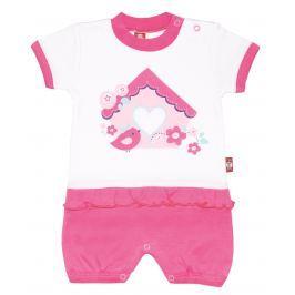 2be3 Dievčenské overal s vtáčikom Cute - ružovo-biely