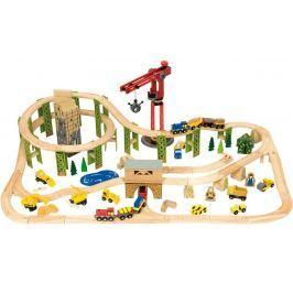 Bigjigs Rail vysutá vláčkodráha so stavebnými strojmi - 116 dielov