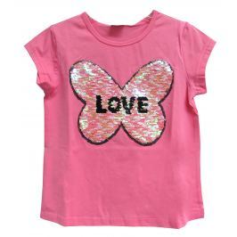 Topo Dievčenské tričko so srdcom - ružové