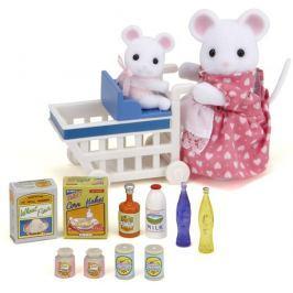 Sylvanian Families Mamka myška s nákupným vozíkom a myšička