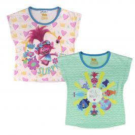 Disney Brand Dievčenská súprava 2 ks tričiek Trollovia - farebný