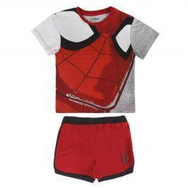 Disney Brand Chlapčenský komplet trička a kraťasov Spiderman - červeno-šedý