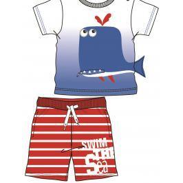 Mix 'n Match Chlapčenský letný komplet s veľrybou - modro-červený