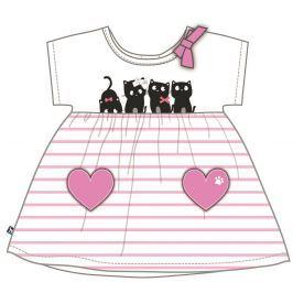 Mix 'n Match Dievčenské šaty s mačičkami - bielo-ružové