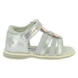 Canguro Dievčenské sandále s hviezdičkami - strieborné
